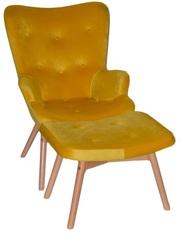 Кресло Флорино с пуфом под ноги,  велюр,  цвет желтый,  оранжевый